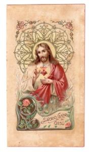 Sacro di Cuor di Gesù Bella cromolitografia anonima italiana, primi 900,a margini lisci. primi 900 - Margini lisci