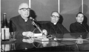 1979 - Il Cardinale Pellegrino, l'Arcivescovo Cannavò e mons. Mondello, vescovo ausilirio, alla XIX settimana teologica.
